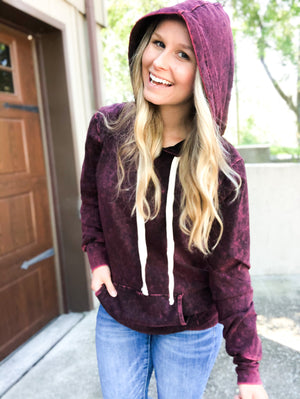 Weekdays In - Burgundy Minimal Wash Sweatshirt