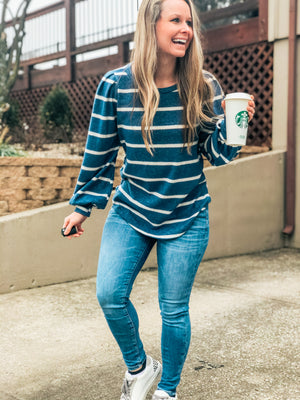 Strut Your Stuff - Teal Stripe Top