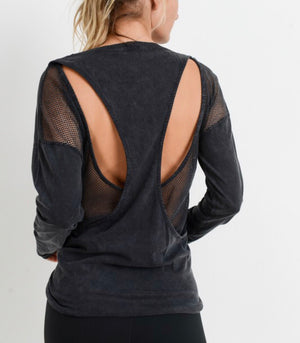 Fight Club - Cut-Out Mesh Back Overlay Mineral Wash Top