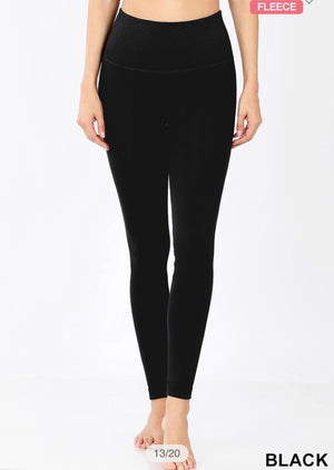 A Girls Best Friend - Black Fleece Tummy Control Leggings