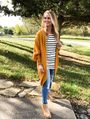 Fall For Me - Oversized Mustard Cardigan