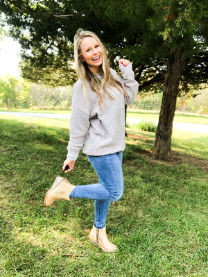 Toned Down - Light Gray Chenille Sweater
