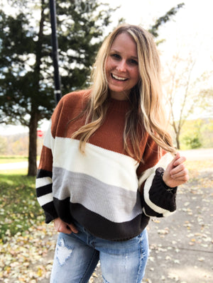 On The Bright Cider - Camel Gray Block Sweater