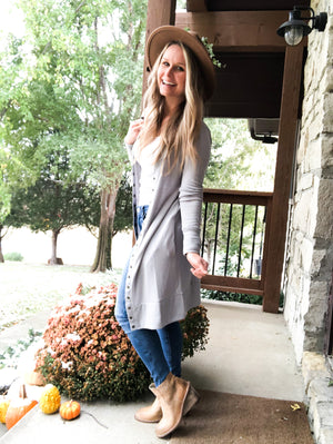 Spellbound - Light Gray Long Button Cardigan