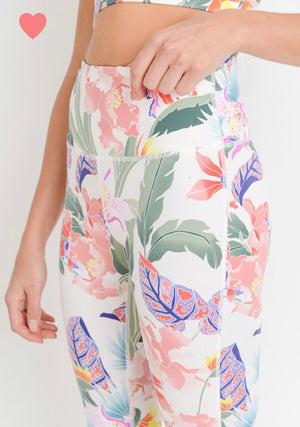 Hawaiian Lei - Highwaist Floral Lei Print Full Leggings