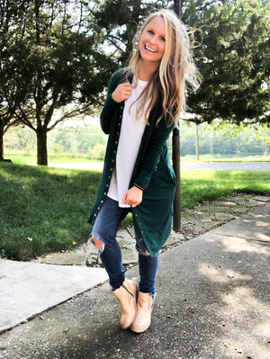 Deep Green - Long Button Cardigan