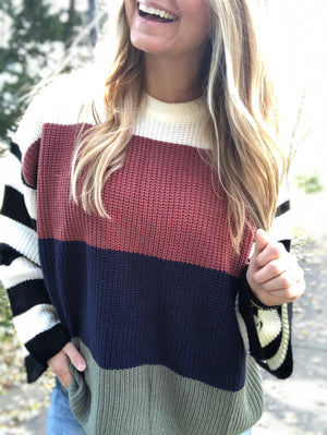 Spiked with Style - Marsala Block Sweater