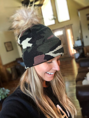 Camo Knit Hat with Pom
