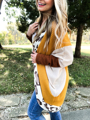 So Much Yes -Oversized Mustard and Leopard Cardigan