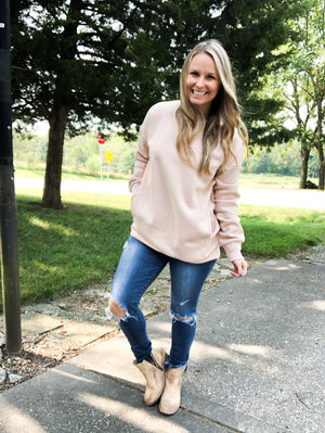 Young, Wild, and Me - Dusty Blush Sweatshirt