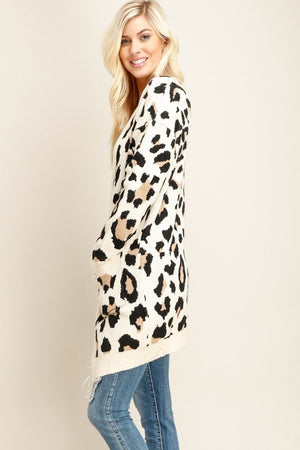 Leopard Long Open Cardigan