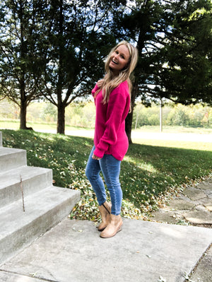 Sparkles Between Us - Hot Pink Waffle Sweater