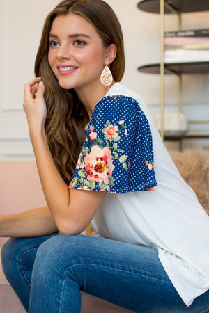 Blue Days Floral Short Sleeve Top