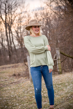 Dusty Olive Bishop Sleeve Top