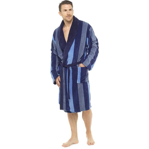 Mens Striped Fleece Dressing Gown