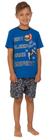 Boys Gaming Pyjamas Eat Sleep Game Zzz All Over Print Pyjamas Blue Size s  Available  9-10 ... 16374077d
