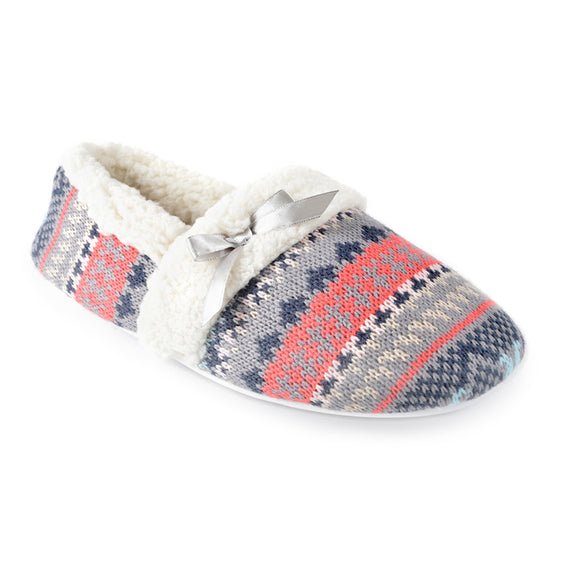 Women's Knitted Fair Isle Trimmed Full Back Slipper Grey