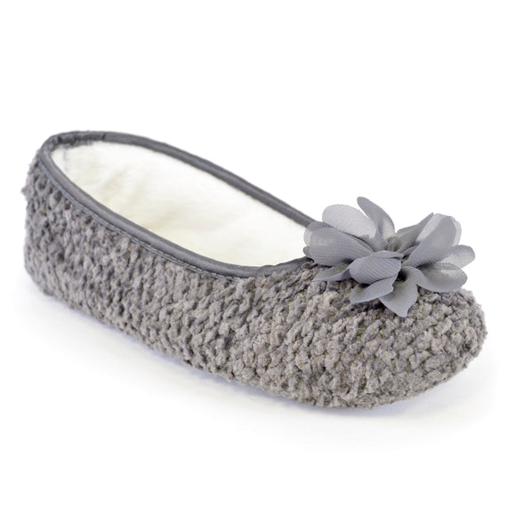 Women's Chiffon Flower Trim Ballet Slipper Grey
