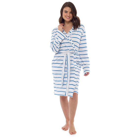 Ladies Trendy Siesta Time Long Lightweight Spring Summer Jersey Bath Robe 100% Cotton Dressing Gown Towel