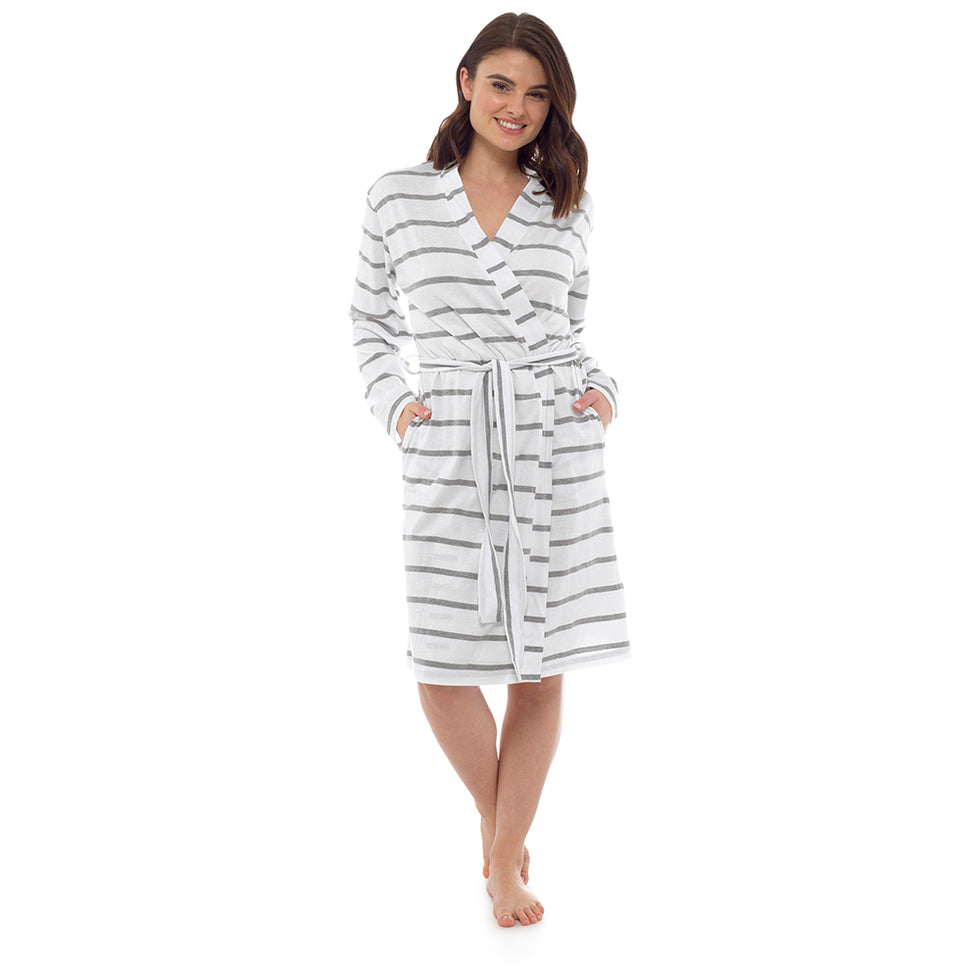 Ladies Trendy Duvet Day Long Lightweight Spring Summer Jersey Bath Robe 100% Cotton Dressing Gown Towel