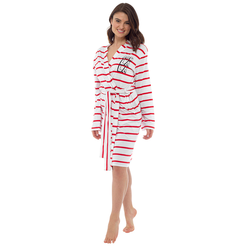 Ladies Trendy Ooh Laa Laa Long Lightweight Spring Summer Jersey Bath Robe 100% Cotton Dressing Gown Towel