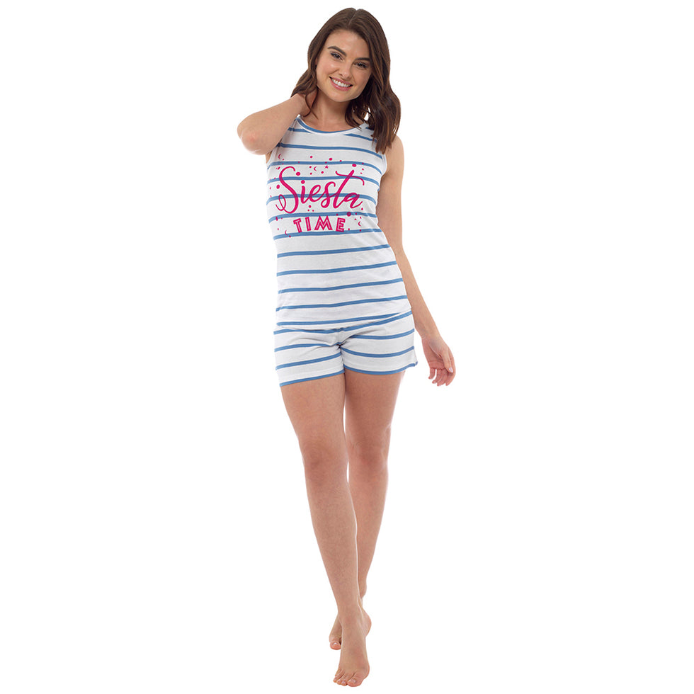 Women's Cotton Siesta Time Stripe Short Ladies Pyjamas,