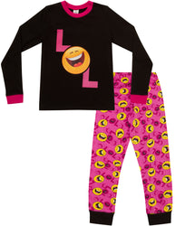 Girls LOL Smiley Face Girls Emoji Style Laugh Out Loud Long Pyjamas Set