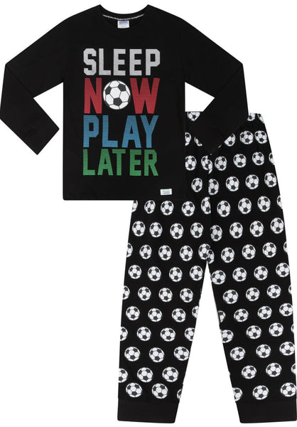 Boys Play Now Sleep Later Gaming Long Cotton Pyjamas White