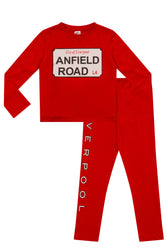 "Boys Red Liverpool ""Anfield Road"" Long Pyjama Set"