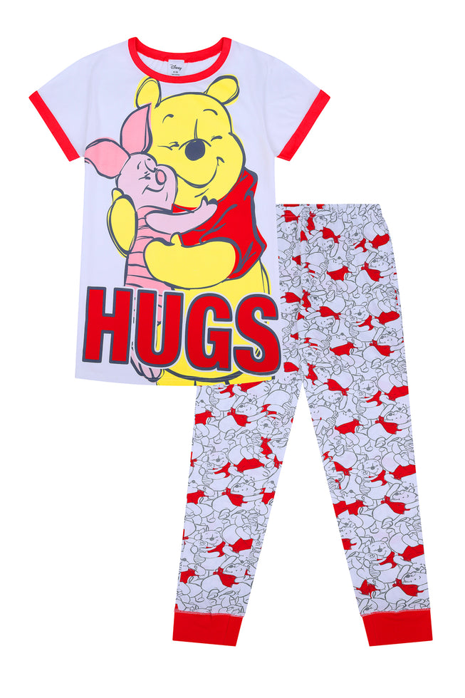 Ladies Winnie The Pooh and Piglet HUGS Cotton Long Womens Pyjamas