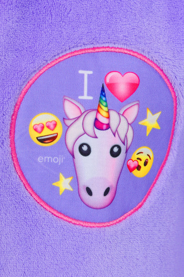 I Love Unicorn's Emoji Dressing Gown Girls Fluffy Unicorn Fleece