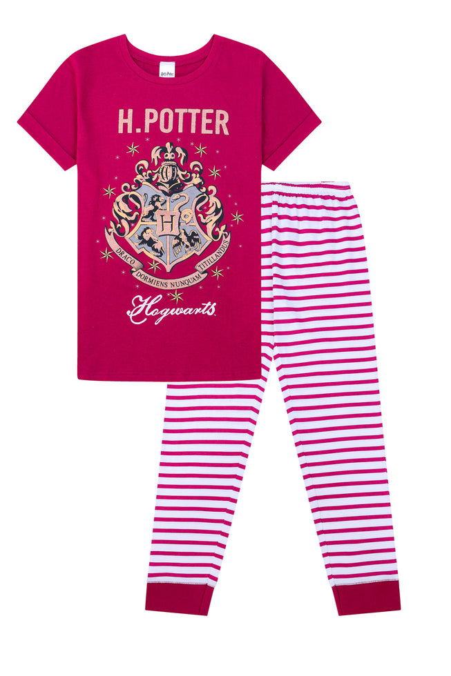 Ladies Harry Potter Hogwarts Gold Long Pyjamas