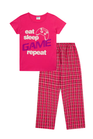Eat Sleep Game Repeat Pink Long Pyjamas SaleSize s Available  9-10 ... 4ae28a6c9