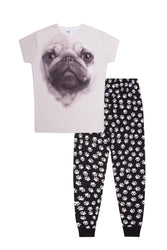 3D PUG Dog & Paw Print Bottoms Long Pyjama Set
