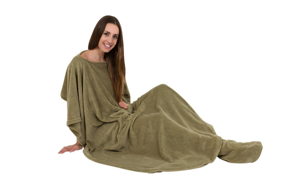 Cosy Toesie Blanket with Built in Slippers Lounge Wear Ladies Mens Gown
