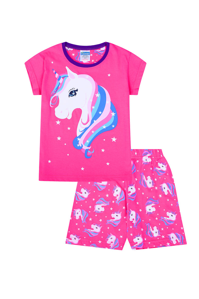 Girls Rainbow Unicorn Star Short Cotton Pyjamas Pj Pjs