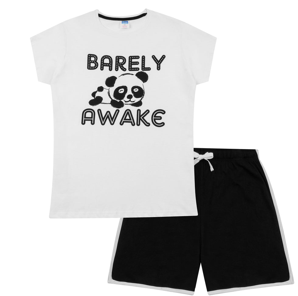 Ladies Short Pyjamas Barely Awake Panda