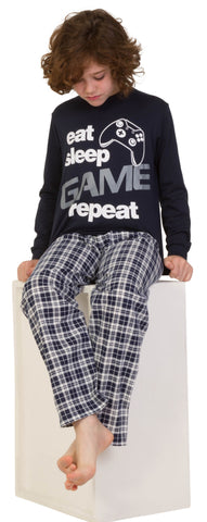 Eat Sleep Game Repeat Black Long Pyjamas Size s Available  9-10 ... f2b16015b