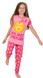 "Girl's Emoji Style ""DO NOT DISTURB"" Long Pyjama Set"