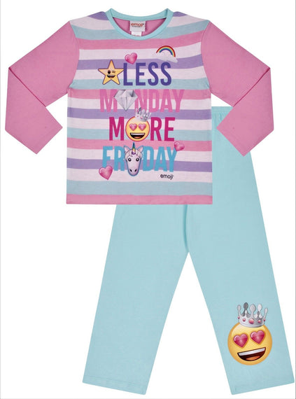 Girl's Emoji Unicorn Pyjamas Less Monday More Friday