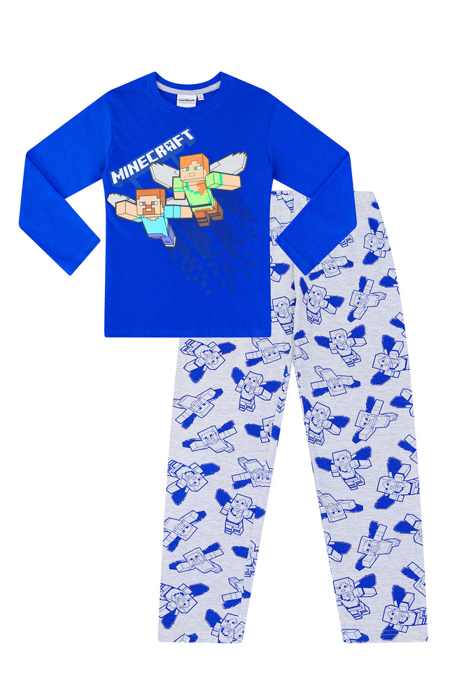 Official Minecraft Steve and Alex Blue Grey Cotton Long Pyjamas