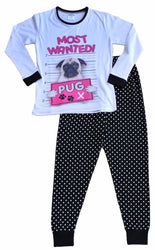 Girls Most Wanted Pug Polka Dot Long Pyjama Set