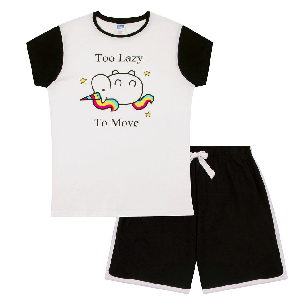 Ladies Unicorn Black White Cotton Short Pyjamas Black