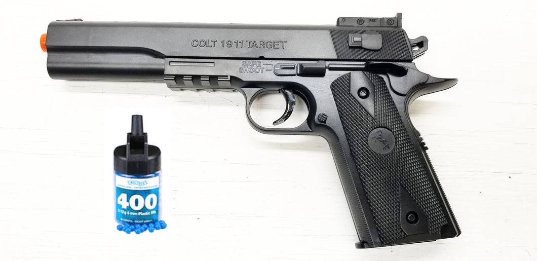 Refurbished Colt 1911 Target Airsoft Pistol Kit with BBs Free Ship!