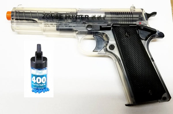 Refurbished Airsoft Zombie Hunter Clear 1911 Spring Pistol Kit Free Ship!