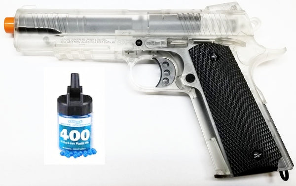Refurbished Airsoft Clear 1911 Spring Pistol with 400ct. BB's