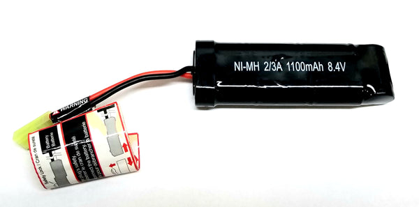 8.4V Ni-MH 1100mAh airsoft battery for M4, Scar, X95, and other Aisoft AEG's