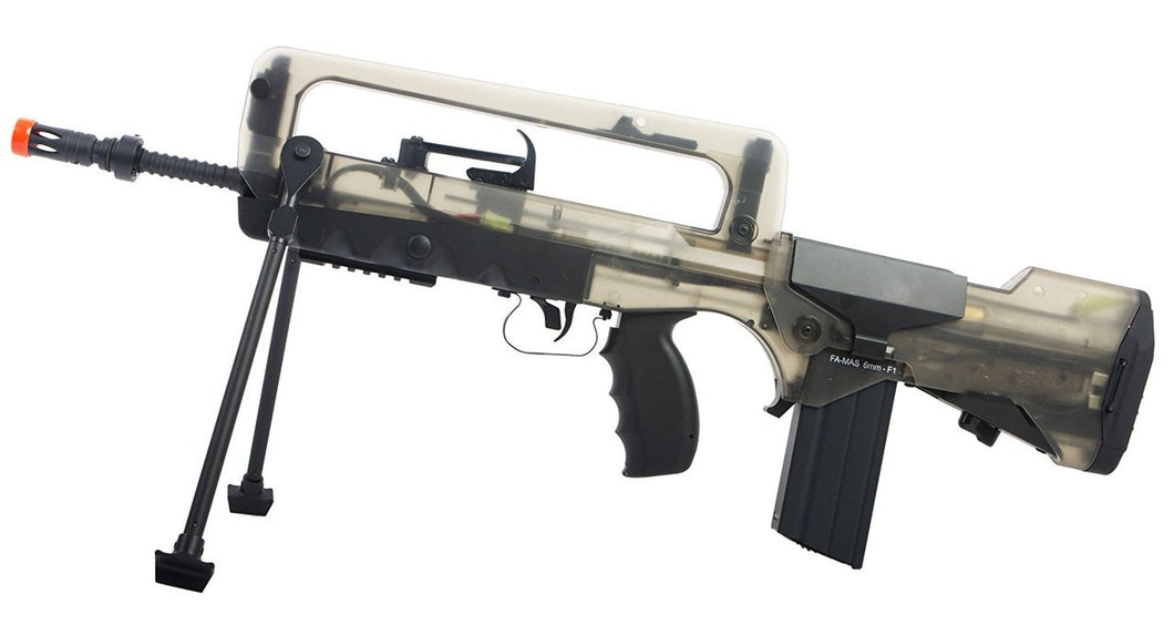 Refurbished Famas Foreign Legions Airsoft AEG rifle. Black/Smoke
