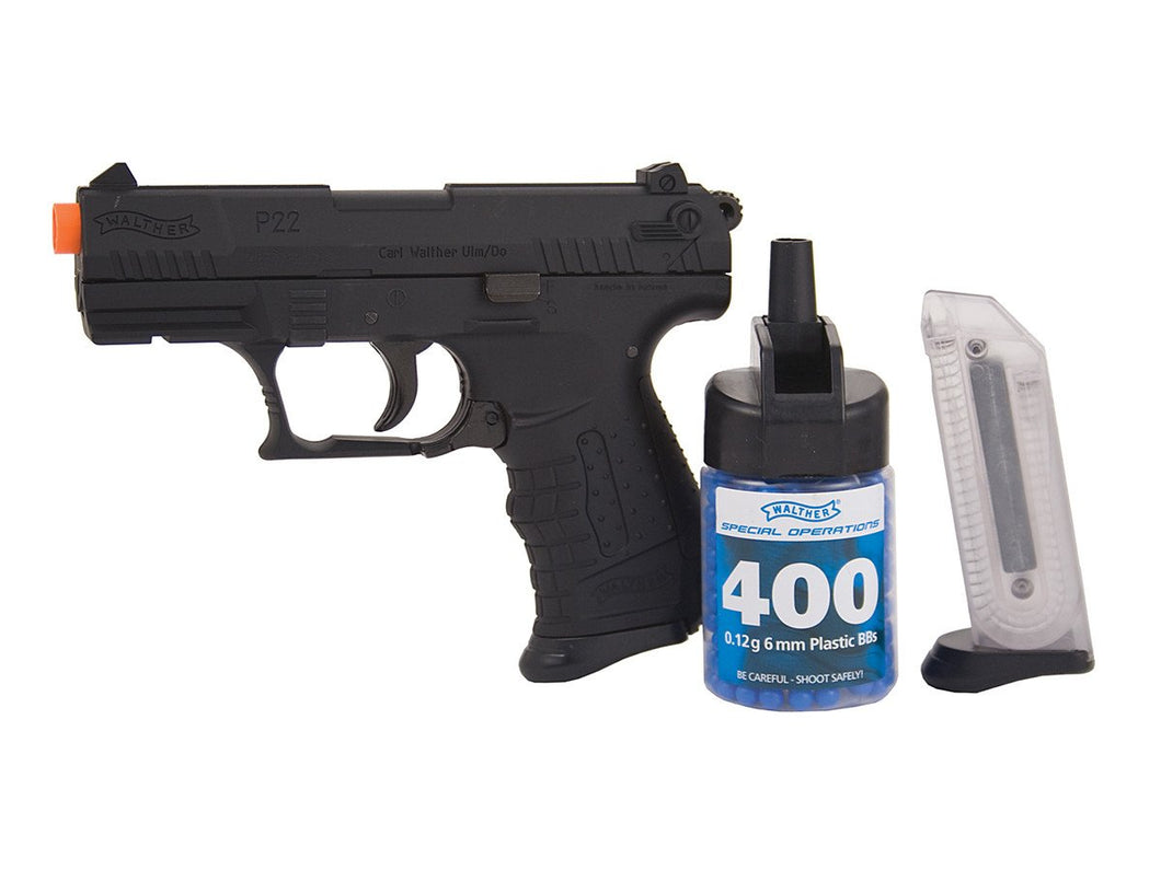 New Walther P22 Black Spring Pistol Kit