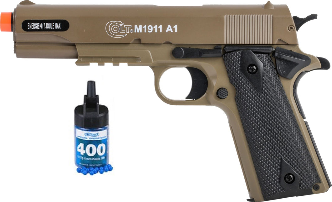 Refurbished Colt 1911 A1 Tan Metal Slide Airsoft Pistol with bbs Free Ship!